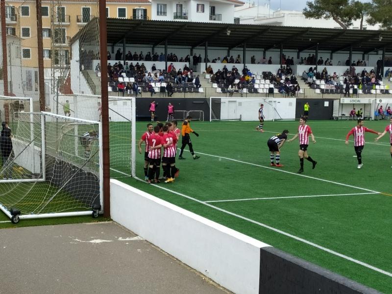CE Mercadal players celebrate goal against CE Alaior